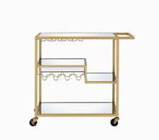 Serving Cart In Gold & Clear Glass - Metal, Glass 319143