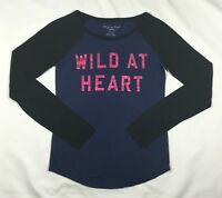 Women's American Eagle Blue and Black Scoop Neck Long Sleeve T-Shirt Top-Size S