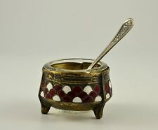Old Vintage Soviet USSR Russian  Enamelled Salt Cellar with Spoon