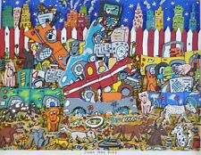 "James Rizzi ""Junk yard dogs"" 1989 Hand Signed Serigraph Large 3-D Pop Art matted"