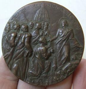 RARE, VINTAGE LARGE BRONZE MEDAL - RELIGIOUS SCENE, POPE PAUL VI, LATIN c1960s