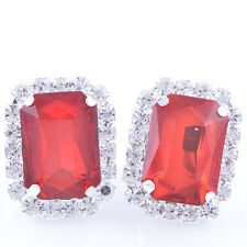 Fashion Wedding Womens silve plated Red Big Square Clean Crystal Stud Earrings