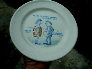 Vintage Prison Art Souvenir Plate Leavenworth Penitentiary Gambling Cartoon