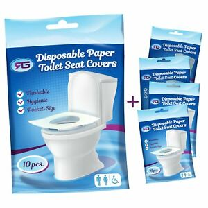 Disposable Toilet Seat Covers Flushable Paper Travel Pack (50-Count)