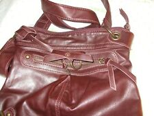 $50 MAURICE SHOULDER strap bag brown purse dual 11X10X1 BUCKLE BUTTON REPAIRED
