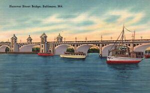 Baltimore, Maryland, MD, Hanover Street Bridge, Linen Vintage Postcard a1137