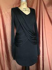 Nicholas K LBD Black Dress SLINKY DRAPED Criss Cross Long Sleeve PARTY S Small