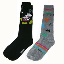 Disney Mickey Mouse Knee High 2 PAIR Socks 9-11 Women Girls Shoe Size 4-10 NEW