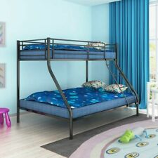 vidaXL Children's Bunk Bed 200x140/200x90 cm Metal Black Kids Twin Sleeper
