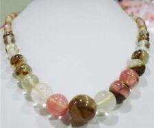 6-14mm Watermelon Tourmaline Gems Beads Necklace 18'' PN465