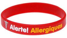 Allergy Alert French Alerte Allergique Silicone Wristband Medical Alert Bracelet
