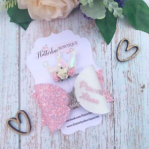 Personalised Princess Glitter Bow Set, name clip, crown charm baby headband