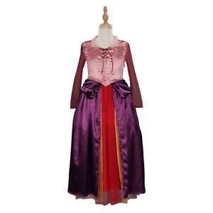 Kids Hocus Pocus Sarah Sanderson Cosplay Costume Girls Dress Halloween Outfits