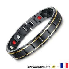 Bracelet magnétique Noir Thérapeutique énergétique Guérison Bijoux Thérapie V1