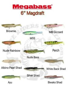 "Megabass 6"" Magdraft Rigged Soft Bodied Swimbaits - Choose Color"