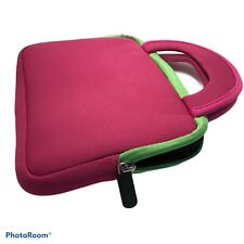 """Small Pink W/ Green Accent Padded Tablet Case W/ Handle 9"""" X 6"""" W/ Front Pocket"""