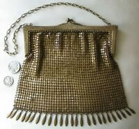 Antique German Silver GOLD T Fancy Floral Frame 25 Tassel Chain Mail Purse #11