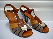 CHIE MIHARA brown tan taupe strappy heels sandals size 39