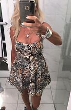Miss Brown Dress Animal Print Cotton Side Pockets Mini Halter Neck CUTE !