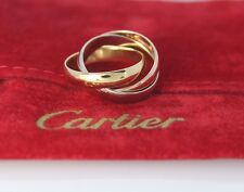 $1,580 Cartier 18K White Yellow Rose Gold Trinity Rolling Ring Band #46 US 3.75