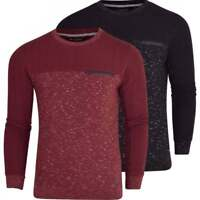 Brave Soul Mens Crew Neck Sweatshirt Jumper Smart Casual Top Zip Chest Pocket