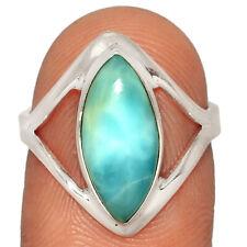 Genuine Larimar - Dominican Republic 925 Silver Ring Jewelry s.7 AR223454