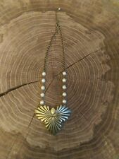 Large gold pendant With Pearl Style Beaded Necklace