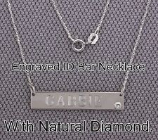 ID Bar Necklace,Custom Engrave With Natural Diamond.925 Silver+Italy Chain 14-20
