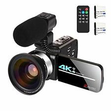 Video Camera with Microphone 4K Camcorder for Live Streaming Camera+Lens+Mic