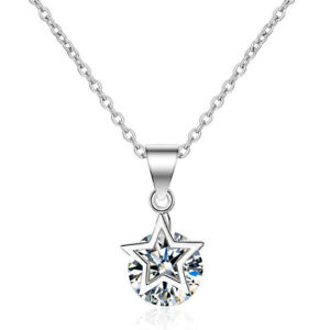 925 Sterling Silver Cubic Zirconia CZ Star Pendant Chain Necklace Gift Box A21