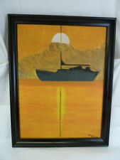 SAILBOAT IN THE SUNSET PAINTING SIGNED GLORIA SELLICK