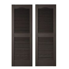 Pair of Louvered Vinyl Exterior Shutters 15 in. x 55 in. Tuxedo Grey Durable