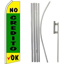 No Credito Ok Yellow /Green/Black Swooper Flag & 16ft Flagpole Kit/Ground Spike