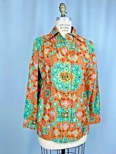 vintage blouse SIZE 8 TO 10 LARGE Handmade Asia SILK Thailand 70s orange retro