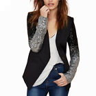 Haoduoyi Women Pu Patchwork Black Sequins Jacket Long Sleeve Winter Coat Outwear