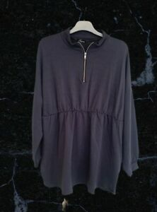 BNWT Yours Limited Collection Blue Grey Long Sleeved Zip Neck Top Size 24