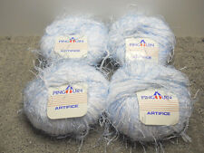 Pingouin Artifice Yarn Lot Of 4 Balls Blue and White Made In France 1.7 Oz. 50 G