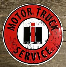 "INTERNATIONAL HARVESTER Motor Truck Service 24"" Circular Embossed Tin Metal Sign"