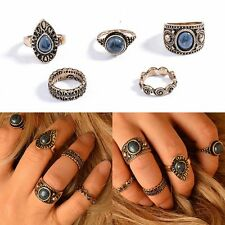 Blue Antique Knuckle Rings Vintage Women Jewelry Joint Rings Retro Silver