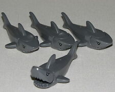 Lego Lot of 4 Dark Bluish Gray Sharks with Gills and Black Eyes Ocean Animals