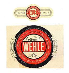 1930s IRTP WEHLE COLONIAL ALE quart beer label w/neck from CONNECTICUT !!