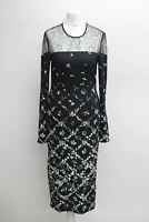PREEN BY THORNTON BREGAZZI Ladies Black Floral Fitted Midi Dress Approx. S