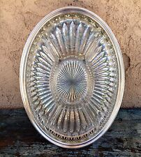 LEONARD SILVER PLATE SERVING TRAY W/ DIVIDED HORS D'OEUVRES GLASS DISH INSERT