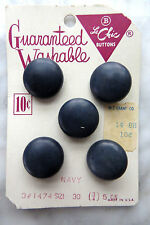 """VINTAGE BUTTONS ON CARD- 5 FASHION NAVY ROUND- 3/4"""" SIZE by LeCHIC"""