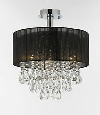 "Silver and Crystal 15""W Ceiling Light Chandelier Pendant Flush Mount Black Shade"