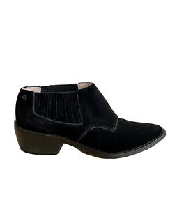 Mimco Black Suede Ankle Boots Leather Designer Size 38 / AU 7