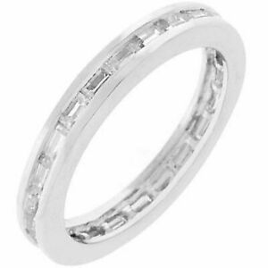 Channel Set CZ Cubic Zirconia Baguettes Eternity Wedding Anniversary Band Ring