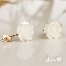 Ohrstecker Rose Perlmutt Blume 10 mm ygf 14k Gold 585 Ohrringe
