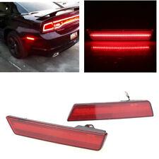 For 2008-2014 Dodge Challenger Red Red Led Rear Bumper Side Marker Light Lamp DN