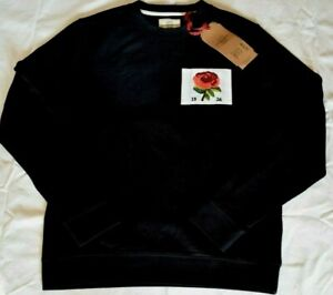 Kent & Curwen KC 1926 Sweater Men's Sweatshirt Black Embroidered Rose Size S New